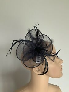 Navy Blue Small Hair Clip Feather Fascinator Wedding Ladies Race Day Accessories