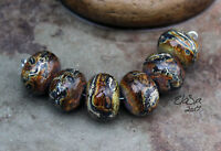 Canyon -  Handmade Glass Lampwork Round Beads SRA MTO - Choose etched or glossy