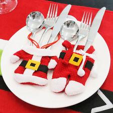 Lot de 3 Porte-Couverts en Costume de Père Noël pour Décoration de Table - NeuF