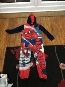 Marvel Spiderman Boys Fleece All In One Onezee Pyjamas Kids Avengers Sleepsuit