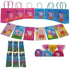 """Licensed E-ONE Peppa Pig Small 6.5"""" Gift Bag Party Favor Set - 6 Packs (42 Pcs)"""