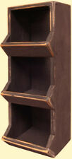 Primitive Farmhouse Old Wood Black COUNTRY STORE BIN Cubby Shelf Box Storage