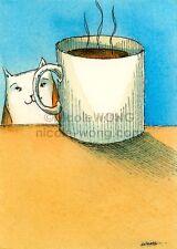 ACEO PRINT - Coffee Break - cat, pet, coffee, morning, caffeine, drink, mug