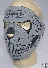 Grey Skull Neoprene Face Mask Reversable Black ATV Ski Biker Paintball Costume