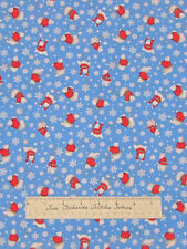 Christmas Holiday Polar Bear Sweaters Snowflake Blue - Quilt Fabric Cotton YARD