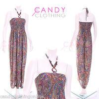 Ladies Long Halterneck Maxi Dress Floral Pattern Summer Maxi Animal Dresses