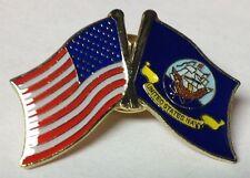 USA Flag American Flag Navy Ship Flag Friendship Crossed Flags Lapel Hat Pin