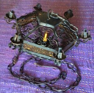 Vintage Spanish Revival Iron Chandelier with Amber Crackle Glass