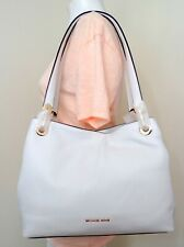 Michael Kors Raven White Leather Large Shoulder Tote 30H6GRXE3L