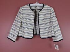 CJ0295- NWT ANNE KLEIN Woman Polyester Cotton Open Front Shrug Striped 10