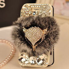 Flip Leather Card Wallet Luxury Bling Diamond Furry Rabbit Fur Phone Case Cover