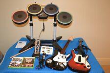 Xbox 360 Rock Band 2 WIRELESS Bundle Drums set Fender Guitar Mic Game Stix Lot