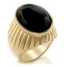 18K GOLD EP OVAL CUT ONYX SET  MENS RING size 10 - 13 you choose
