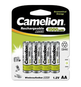 AA Ni-Cd Solar Light Batteries 1000mAh 4 pack Camelion Rechargeable