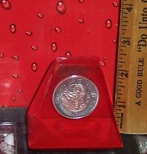 1976 COCA - COLA SANTA CHRISTMAS ROUND SILVER COIN IN LUCITE PAPER WEIGHT