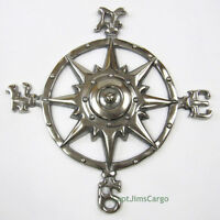 "Compass Rose Chrome Finish 12"" Aluminum Windrose Nautical Wall Hanging Decor New"