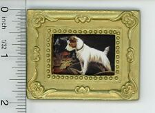 Dollhouse Miniature Gold Framed Picture of a Small Dog