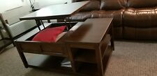 brown Coffee Table lift Top Living Room Storage Wood Finish Furniture Modern 4…