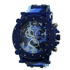 MENS ICED OUT BLUE CAMOUFLAGE CAPTAIN BLING ICE NATION WATCH WITH BULLET BAND