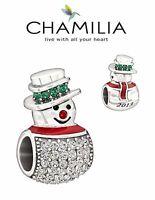 Genuine CHAMILIA 925 sterling silver & Swarovski SILVER SNOWMAN charm bead