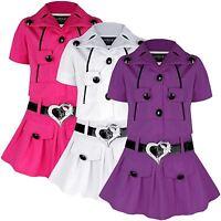 GIRLS DIAMANTE HEART DESIGN BELTED SLEEVELESS DRESS & SHORT SLEEVE JACKET 3-12 Y