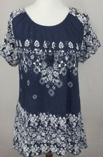 JASON MAXWELL WOMEN'S SIZE XL BLOUSE NAVY BLUE WHITE ASYMMETRICAL HEM STERTCHY