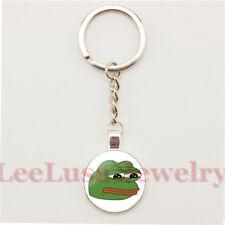 "Pepe ""Feels Bad Man"" Enamel Keyring On Silver Key Chain & 34 Pepe Stickers Frog"