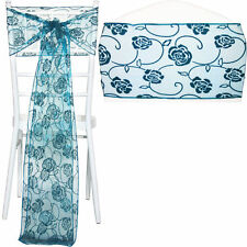Rose Chair Sashes Floral Organza Table Runners Wedding Sash Venue Decorations UK