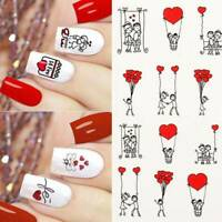 Valentine's Day Nail Art Stickers Transfers Decals Set of 16