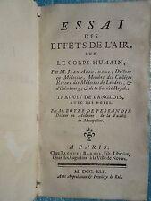 ARBUTHNOT : ESSAI DES EFFETS DE L'AIR SUR LE CORPS HUMAIN, 1742.