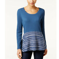 Style & Co Petite Waffle-Knit Mixed-Media Top, New Uniform Blue, PM