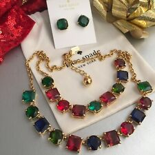 GORGEOUS Spade Crystal Kaleidoscope Necklace & Stud Earrings Set Amazing Colors