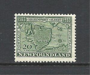 NEWFOUNDLAND SCOTT 223 MH F/VF - 1933 20c DEEP GREEN ISSUE    CV $15.00