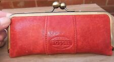 Fossil Red Leather Portable Travel Home Sewing Kit