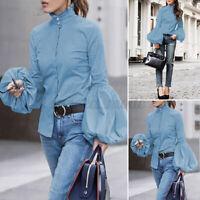 Womens Oversized Long Sleeve Blouse High Neck Office Basic Shirt Baggy Tops Tee