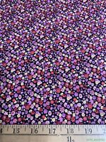 2.7Yds VTG OOP HTF Shamash Mini Floral on Black Stretch Cotton Fabric