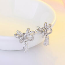 FT- Bowknot Waterdrop Pendant Zircon Earrings Elegant Ear Stud Women Jewelry San