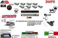 KIT VIDEOSORVEGLIANZA AHD DVR 8 CANALI + 8 TELECAMERE 3MP 48 LED + HARD DISK1000
