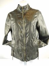 Big Chill Vintage Ladies Faux Vegan Leather Jacket Distressed Brown Gold Small