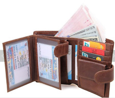 Wallet For Men RFID Genuine Leather Trifold Wallet Cards Holder Purse ID Windows