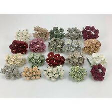 200 MIXED 4 Designs Mini - Small Cottage Rose Paper Flower Scrapbook (R&S-PanA9)