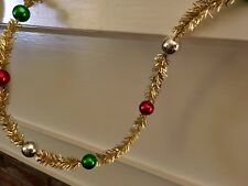 Retro Vintage Beaded Tinsel Christmas Garland - Gold w red, green, silver