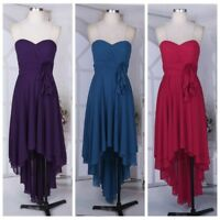 Women Strapless Chiffon High Low Bridesmaid Dresses Evening Party Gown Cocktail