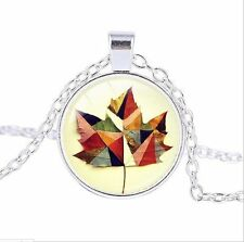 Maple Leaf photo Cabochon Glass Tibet Silver Chain Pendant Necklace GY52