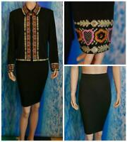 ST. JOHN Knits Black Jacket Skirt L 12 14 2pc Suit Collared Multi-Color Trim