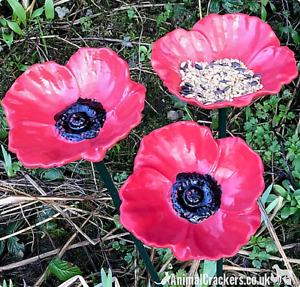 Set of 3 Poppy Bird Bath or seed feeders bright red weatherproof bird lover gift