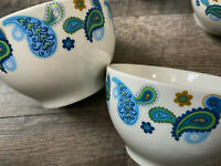 Set of 2 Royal Norfolk Stoneware BLUE PAISLEY Soup Cereal Bowls White w/Green EC