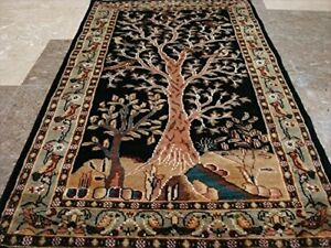 Wow Awesome Tree of Life Birds Hand Knotted Oriental Rug Carpet (4 x 2.5)'