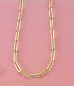 Elongated Flat Link Chain 3.85 mm 14K Yellow Rose White Gold  7  16  18  20 Inch