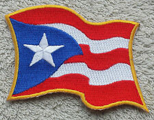 "PUERTO RICO WAVING FLAG PATCH Embroidered Badge Iron Sew 3.5"" United States USA"
